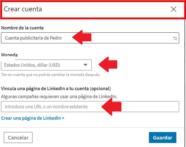 Linkedin Insight Tag - crear cuenta publicitaria3