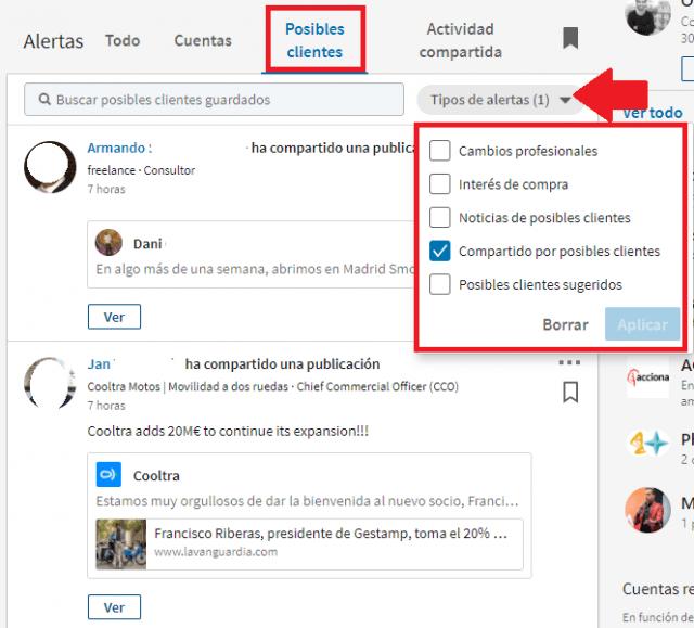 Linkedin sales navigator - compartido por posible cliente