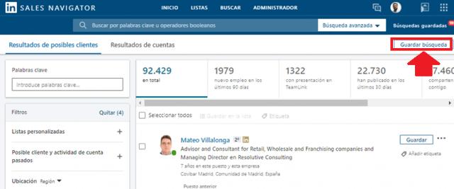 Linkedin sales navigator - guardar búsquedas