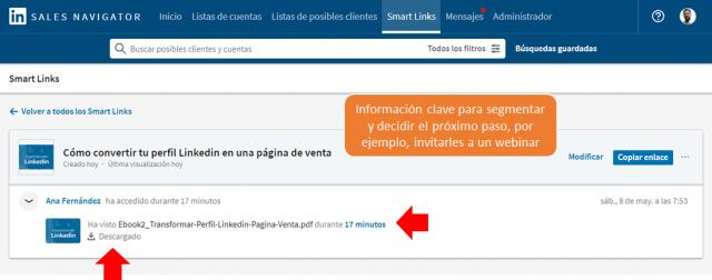 Linkedin sales navigator - los smart links 12