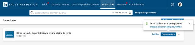 Linkedin sales navigator - los smart links 8
