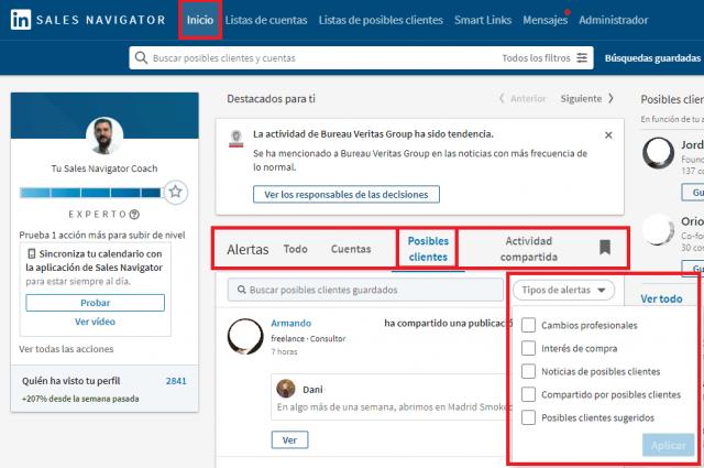 Linkedin sales navigator - página de inicio