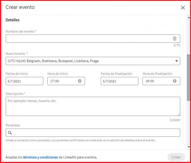 Estrategias para aumentar tu visibilidad en Linkedin - Crear eventos